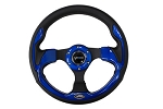 NRG - Pilota Series Sport Steering Wheel - 320mm - Leather with Blue Inserts
